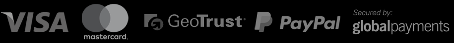 Payment Gateway provided by Global Payments and PayPal, SSL encryption provided by GeoTrust